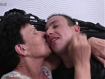 Klotild fucking her way younger lover