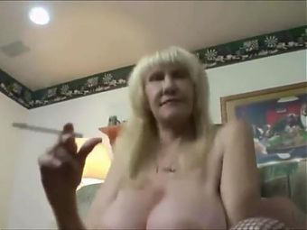 Breasted grandma non stop smoke while boytoy fucking