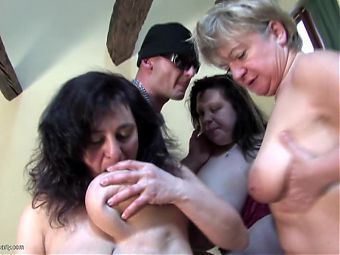 Old busty moms fuck young cocky boy and each other