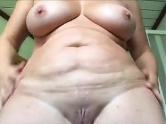 Grandma shows her big pussy