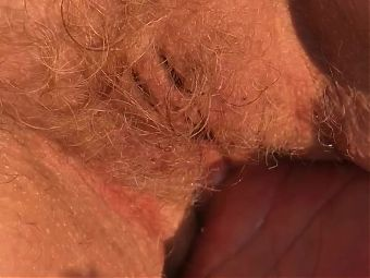 The sound of my mature wifes red hairy pussy