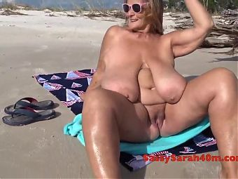 Beach seduction for big mama
