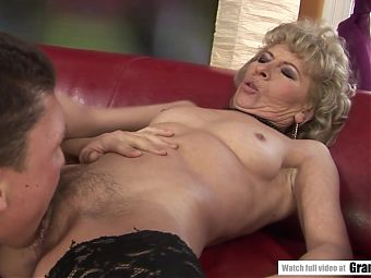 Granny warmed her pussy for a hard fuck