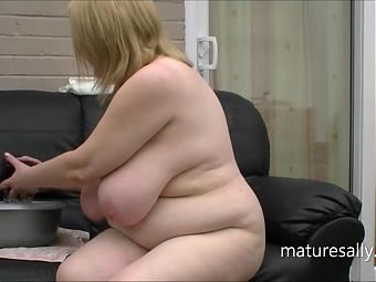 Need a lot of soap to cover Sallys big tits and pussy