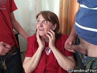 Busty office granny granny gets a double penetration