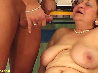 hairy chubby mom enjoys her toyboy