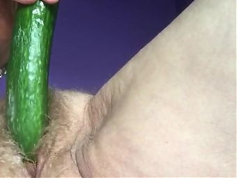 Slutty Granny Fucks Pussy With Cucumber Part #1
