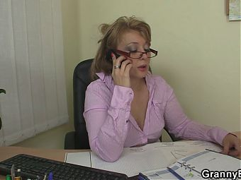 Cock-hungry office mature woman and boy
