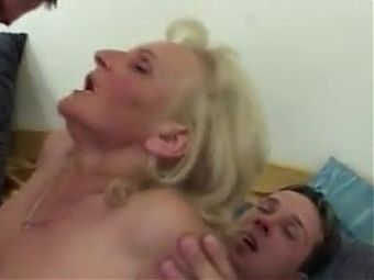 Old Blonde Suck And Fucks Two Cocks